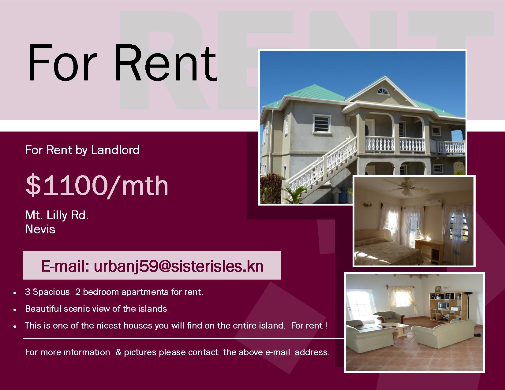 3 Beautiful 2bedrooms Apartment For Rent Mua Nevis Medical School Classifieds