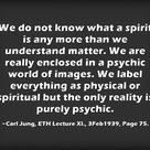 We do not know what a spirit is any more than we understand matter. We are really enclosed in a psyc