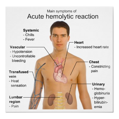 Acute Intravascular Hemolytic (immune) Transfusion Reaction.  Caused usually by clerical errors. ABO