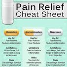 Pain relief cheat sheet