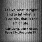 To live what is right and to let what is false die, that is the art of life. ~Carl Jung, Liber Novus