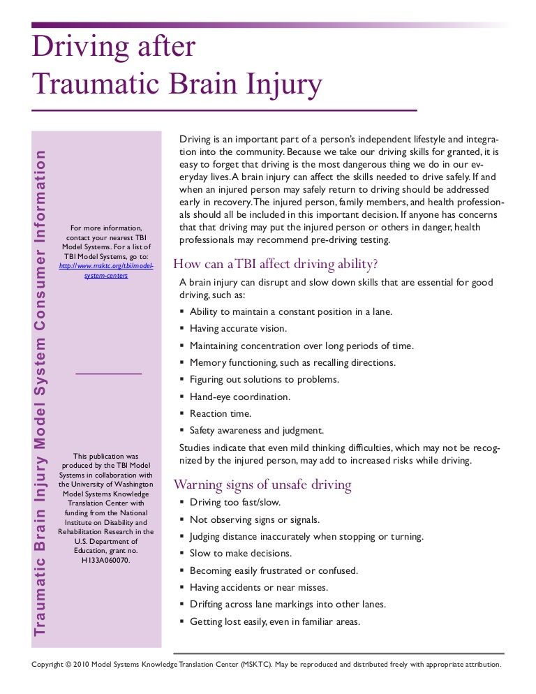 Driving After Traumatic Brain Injury