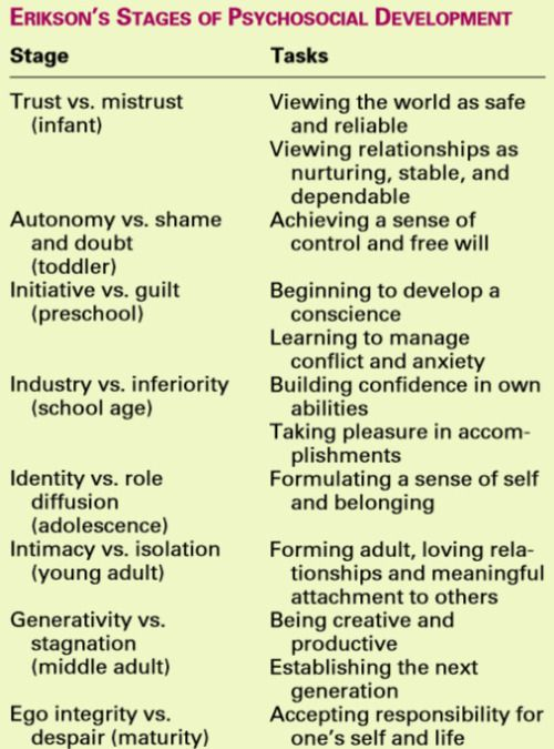 Erikson's Stages of Psychosocial Development.