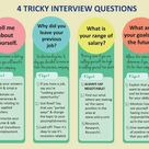 4 Tricky Interview questions: yourself, your previous job, your salary, your goal.
