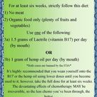 Foods with B17: The following is a list of foods rich in vitamin B17: - Watercress - Spinach - Bambo