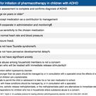 Criteria for initiation of pharmacotherapy in children with ADHD