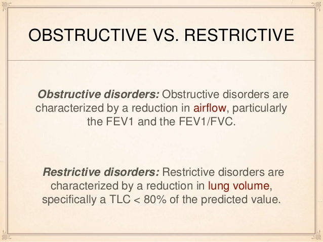 Obstructive vs. Restrictive Lung Diseases... Obstructive = COPD (chronic bronchitis, emphysema), Ast