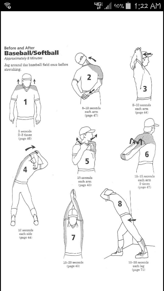 Baseball/Softball stretches - before and after.