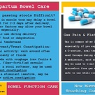 Bowel Care After Delivery: New Mamma Teaching Card. Explains the process of gastrointestinal reawake